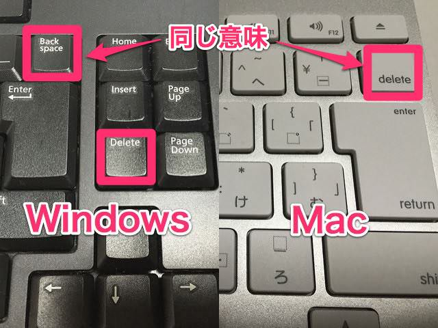 Win Backspace とMac delete