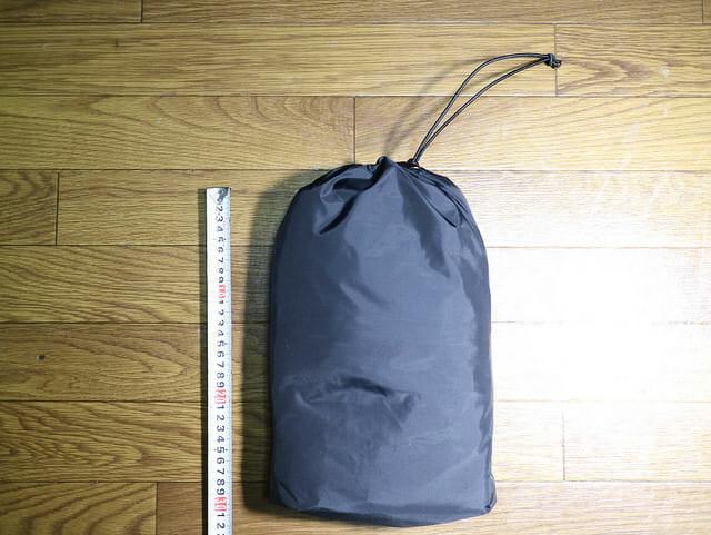 バイク雨対策コンパクトレインスーツケース梱包サイズ