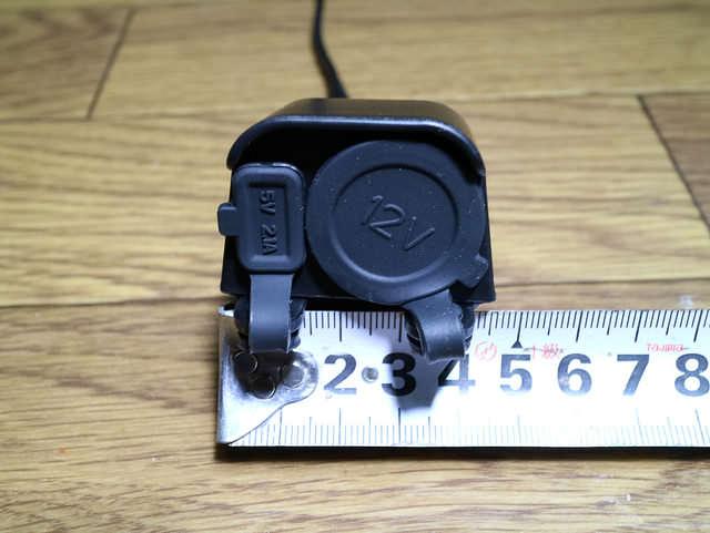 バイク電源USBシガーソケット正面サイズ