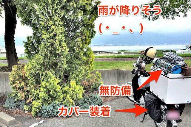 バイクのリアボックス上の荷物を雨から守りたい