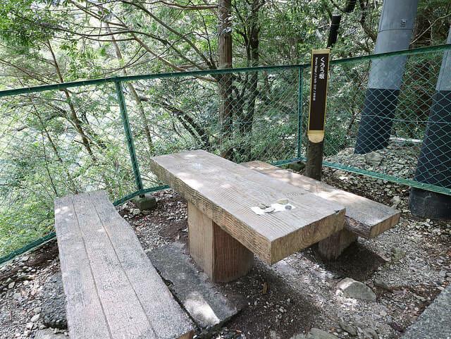 寸又峡後の急な階段休憩所1