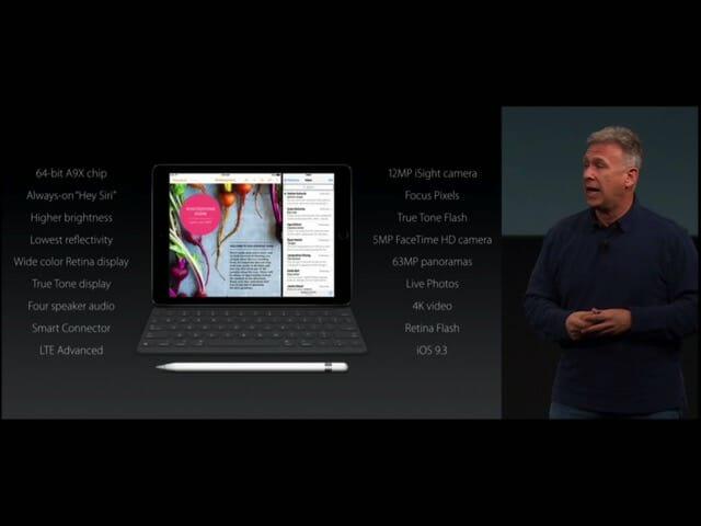 AppleSpecialEvent20160321iPadPro9 7インチスペック