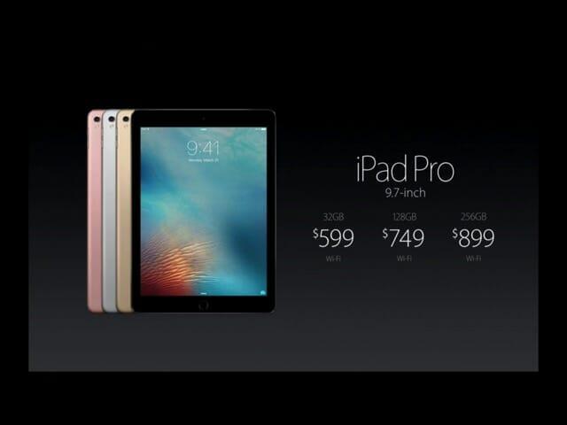 AppleSpecialEvent20160321iPadPro9 7インチ価格