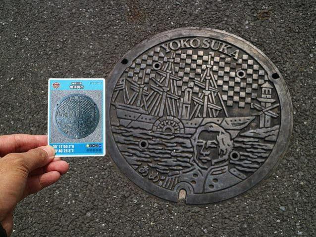 横須賀市マンホールカードのフタは色がないが、実はカラーもあった!