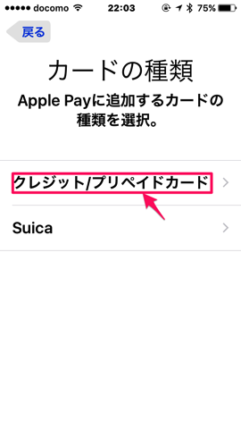 ApplePay消える 9カードの種類選択画面