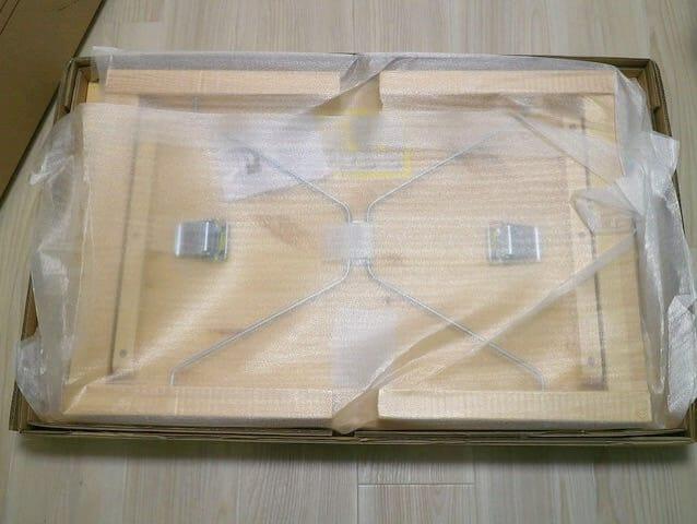 パイン材ローテーブル 折りたたみ式 開封