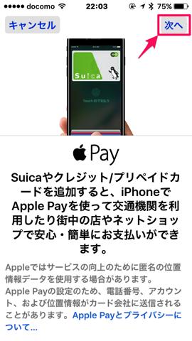 ApplePay消える 2追加画面