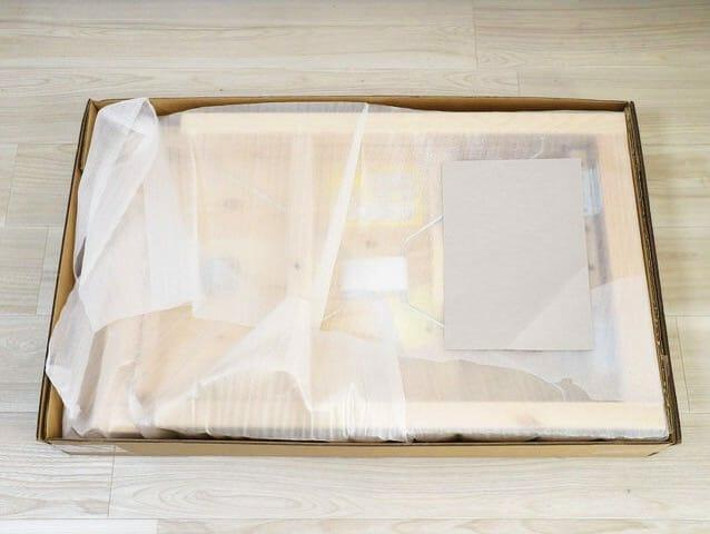 無印良品パイン材テーブル 折りたたみ式 開封