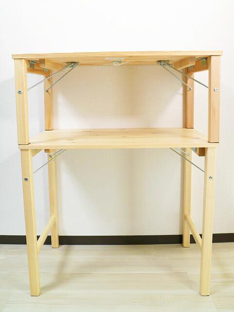 無印良品パイン材テーブル 折りたたみ式 ローテーブル正面比較