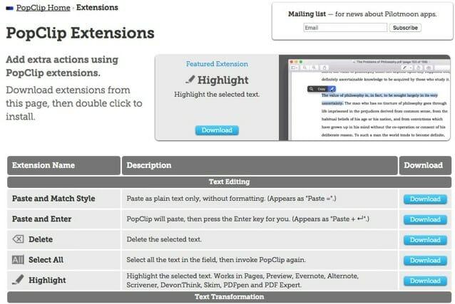 PopClip Extension Site