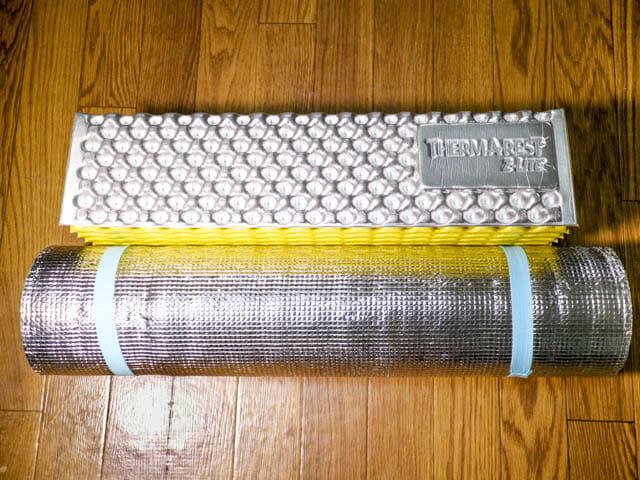 寝袋マット サーマレスト クローズドセルマットレス 銀マット比較