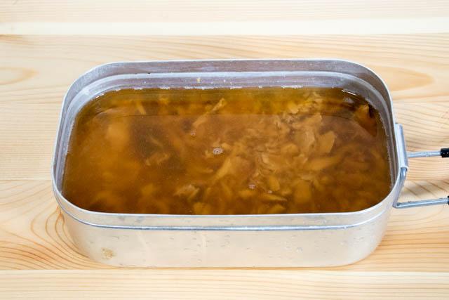 メスティン炊き込みごはん まぐろ醤油煮炊飯前
