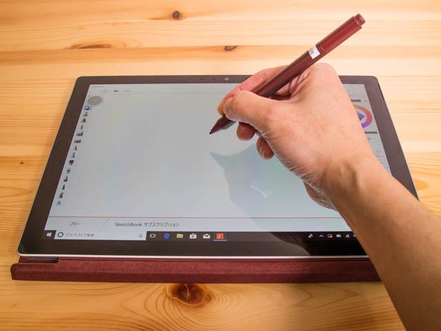 SurfacePro タブレットモードタイプカバー有りペン作業