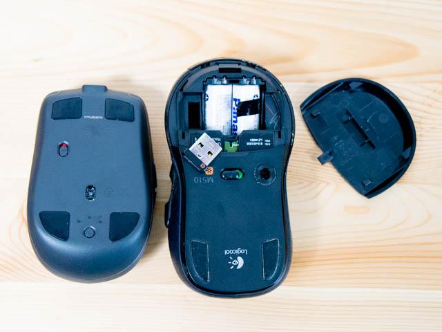 Logicool MX1600s M510比較底面