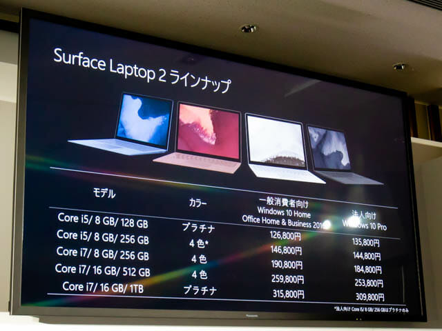 Microsoft Japan Surface Event SurfaceLaptop2ラインナップ