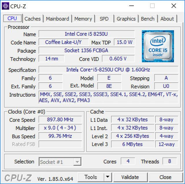 SurfacePro6 ベンチ CPU Z