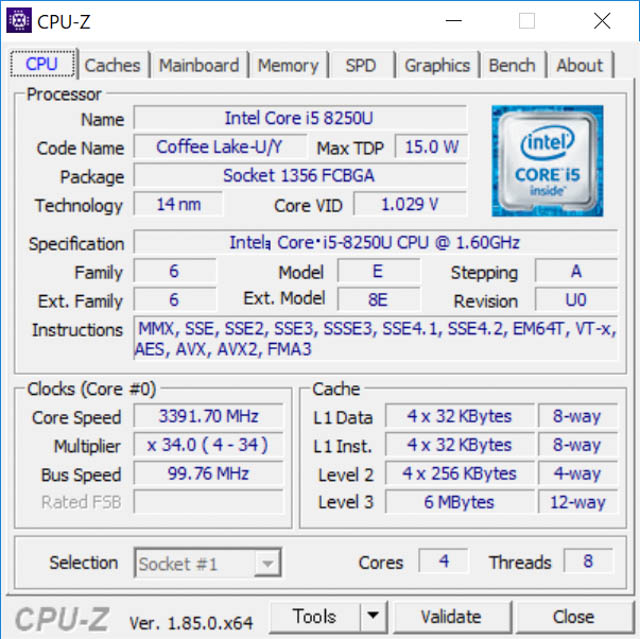 SurfaceLaptop2 CPUZ CPU
