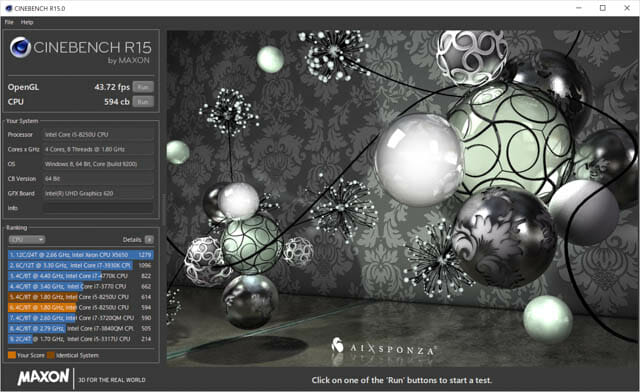 SurfacePro6 ベンチ CINEBENCH