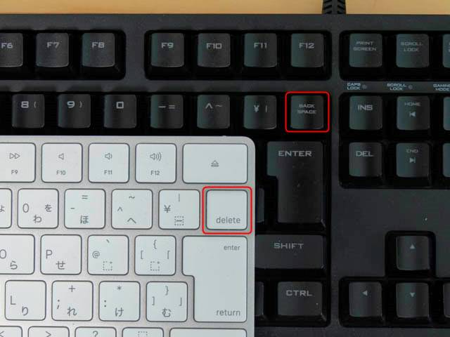 Mac-Winキー配列 delete