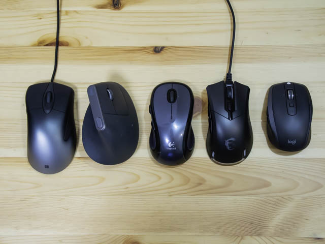 MicrosoftProIntelliMouse_4 他社マウスと大きさ比較