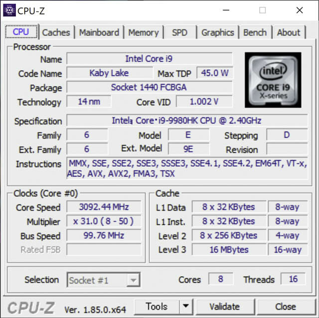 ASUS-ZenBookProDuo CPU-Z(CPU)