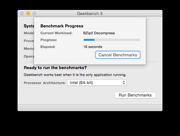 Geekbench 3 計測中