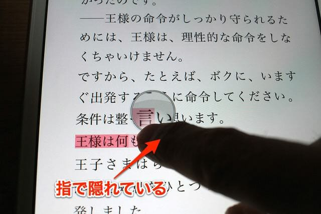 5iPad選択範囲の虫眼鏡
