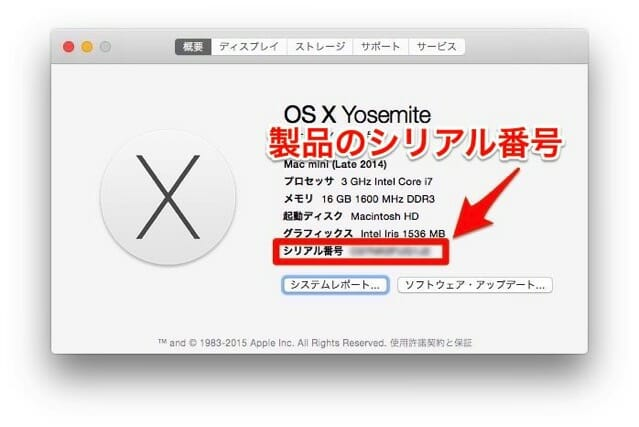 AppleCareMacMiniこのMacについて