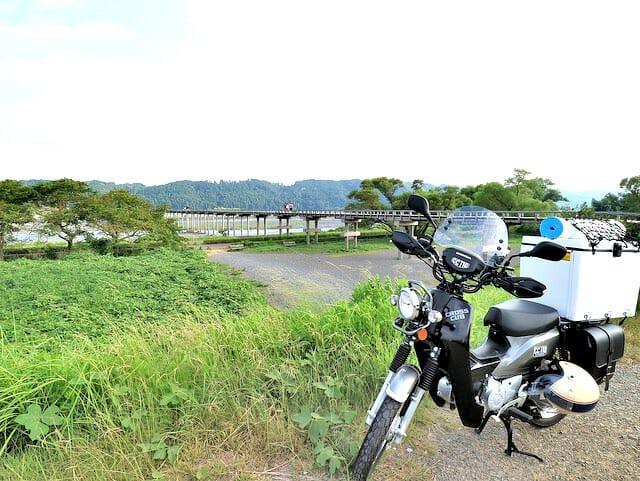蓬莱橋とクロスカブ
