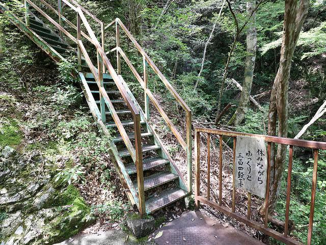 寸又峡夢の吊橋後の急な上り階段