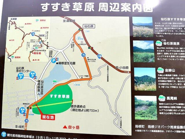 箱根千石原ススキ草原周辺案内図