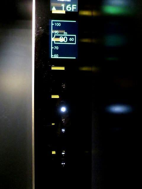 あべのハルカスエレベーター途中