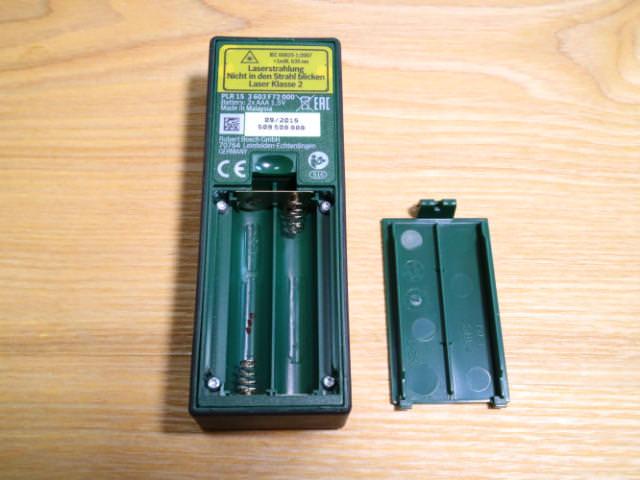 レーザー距離計裏側電池ボックス