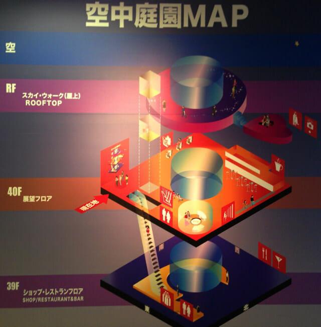 梅田スカイビル空中庭園MAP