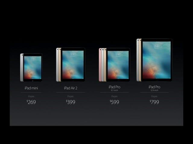 AppleSpecialEvent20160321iPadシリーズ価格