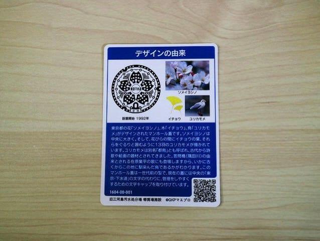 東京23区マンホールカード裏