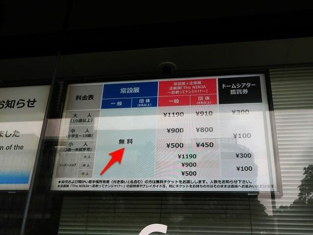 日本科学未来館 建物入口チケット売場料金表