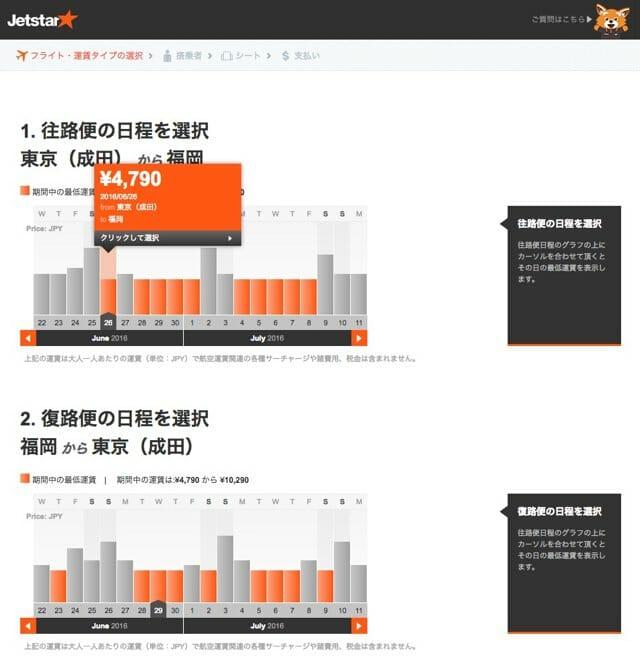 ジェットスター東京福岡往復予約4最低運賃確認