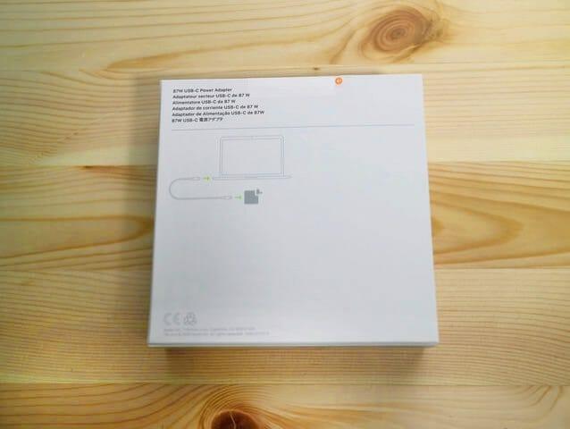 Apple87WUSB C電源アダプタパッケージ裏面