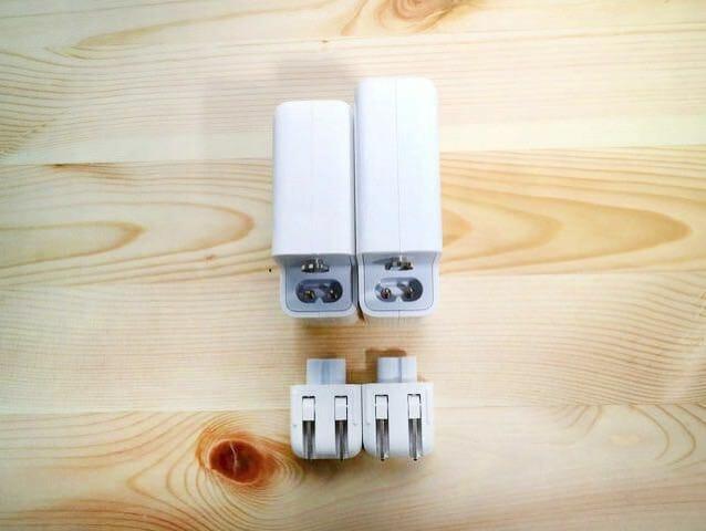 Apple61Wor87WUSB C電源アダプタ比較コネクター部