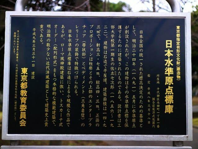 日本水準原点標庫説明