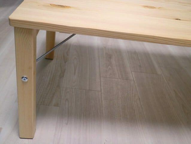 パイン材ローテーブル 折りたたみ式 ワイヤー