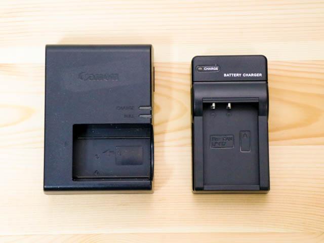 EOSM3用LP E17バッテリーUSB充電器 純正品比較