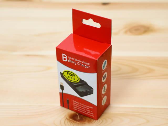 EOSM3用LP E17バッテリーUSB充電器 パッケージ斜め