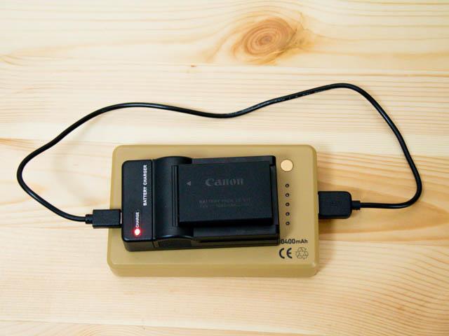 EOSM3用LP E17バッテリーUSB充電器 移動中の充電