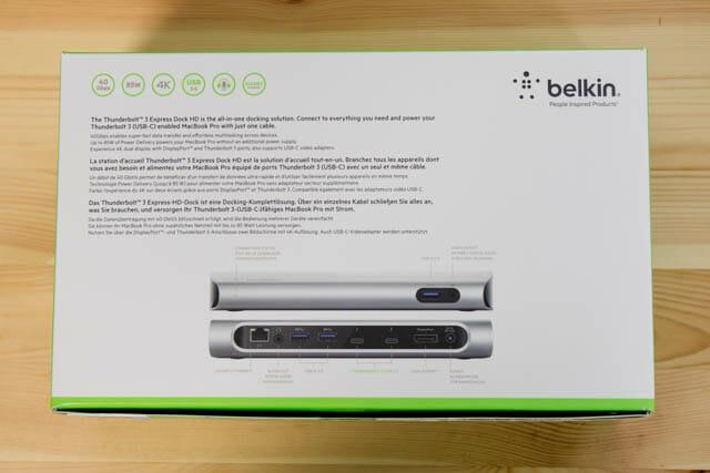 Belkin Thunderbolt3拡張ドック パッケージ裏面