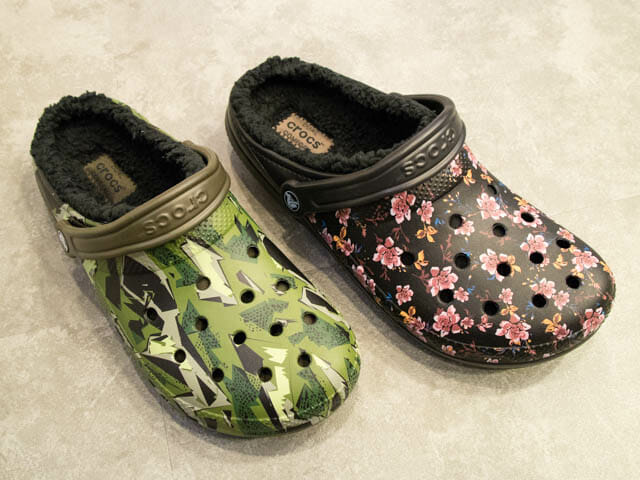 Crocs FuzzCollection ClassicFuzzLinedClog柄付き