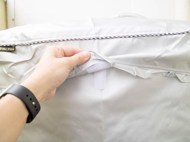 洗濯機カバー 取付完了フタ面テープ