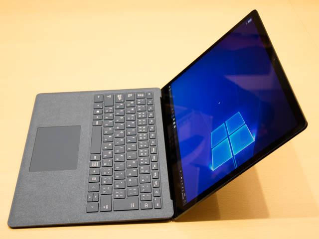 マイクロソフト 新製品Touch Tryイベント SurfaceLaptopディスプレイ傾斜