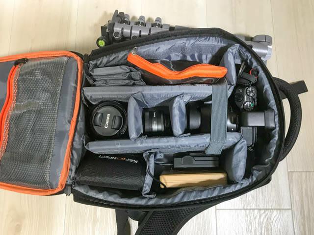 K F Concept カメラバッグ 内部小型カメラ収納